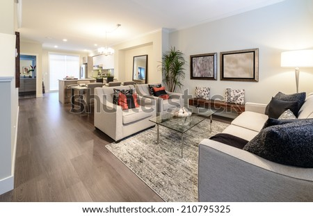 Interior design of luxury nicely decorated modern living room, suite with sofa and chairs. Interior design of a brand new house.