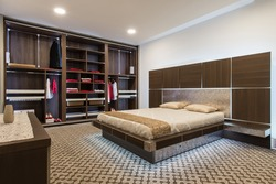 Interior design of master bedroom in luxury home