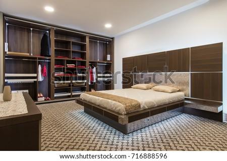 Interior design of master bedroom in luxury home #716888596