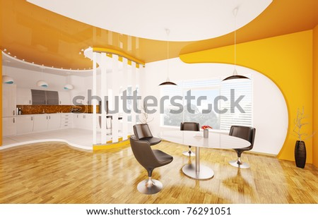 Interior design of modern dining room and kitchen 3d render
