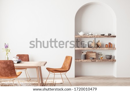 Interior design of modern dining room with orange furniture and wooden table, Scandinavian style, 3D render, 3D illustration Сток-фото ©