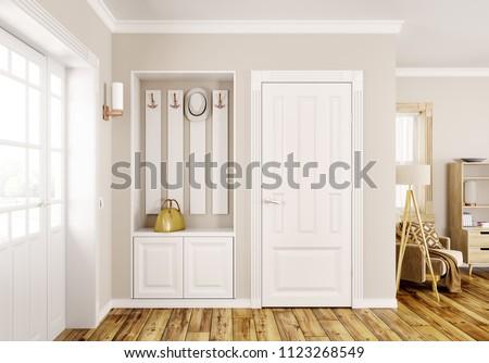 Interior design of modern hall with doors 3d rendering Foto d'archivio ©