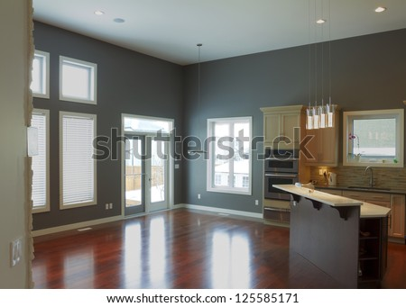 Interior design of modern kitchen  in a new house - stock photo