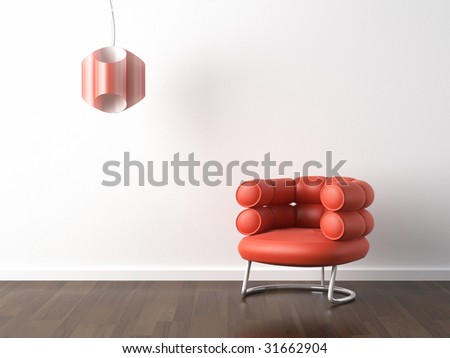 interior design of modern orange armchair and lamp against a white wall with copy scape