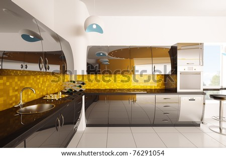 Interior design of modern orange black kitchen 3d render - stock photo