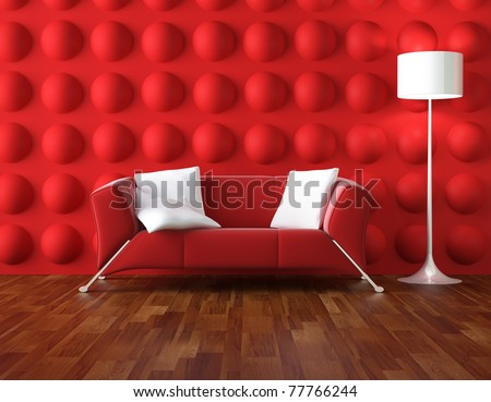 interior design of modern room in red and white colors