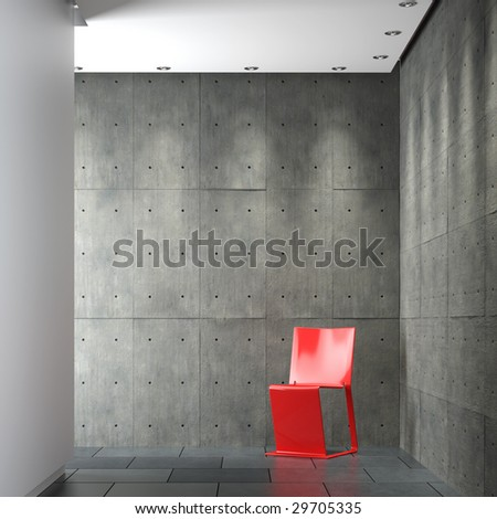 interior design of modern sparse composition with red chair on concrete wall corner