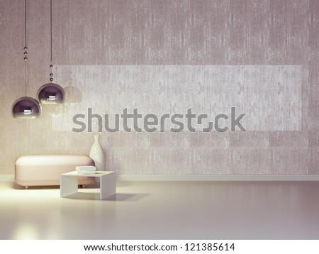 Interior design of modern violet lounge. Contemporary furniture indoor.