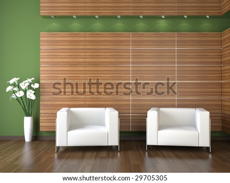 interior design of modern waiting room with wood cladding on green wall