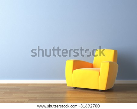 interior design of modern yellow armchair against a blue wall with lots of copy space