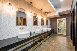 Interior design of public toilet in modern hotel or restaurant