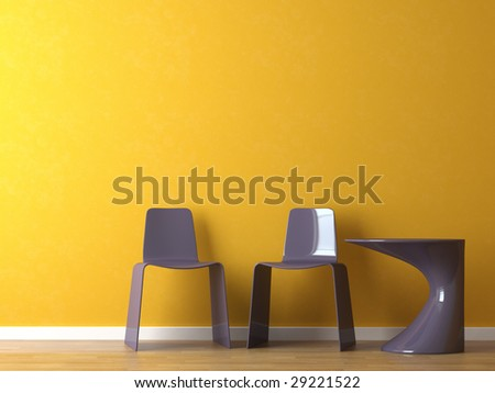 interior design of purple modern plastic chairs and table on orange wall