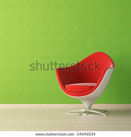 interior design of red chair against a vibrant green wall with copy space on the top left corner. Black Bedroom Furniture Sets. Home Design Ideas