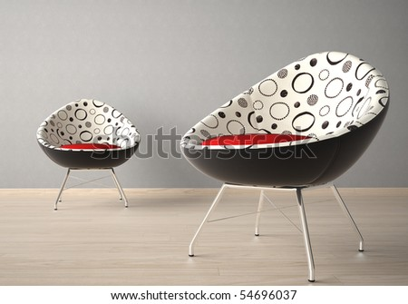Interior design of two modern armchairs on a grey wall - stock photo