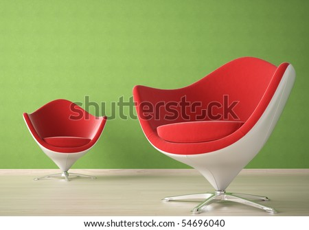 Interior design of two modern red and white armchairs against a agreen wall