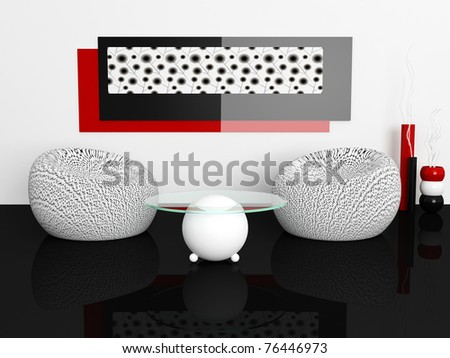 interior design of white living room with modern furniture, nice decor, 3d render
