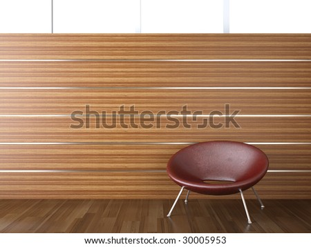interior design of wood cladding wall with a red leather chair