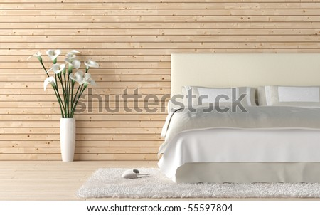interior design of wooden bedroom with bed and a vase of calla lily flowers