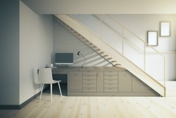 Interior design of working area with dark table and white chair under stairs. 3D Render