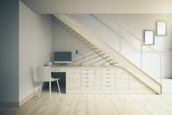 Interior design of working area with light table and white chair under stairs. 3D Render