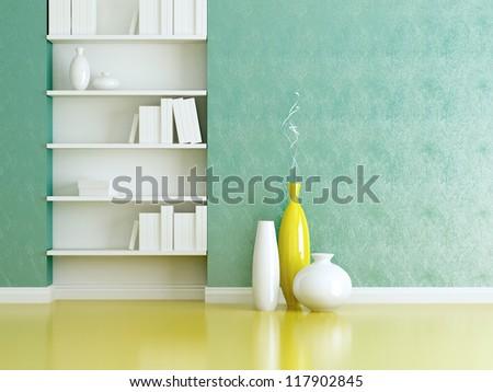 Interior design scene. Bookshelves and vases with brunches. - stock photo