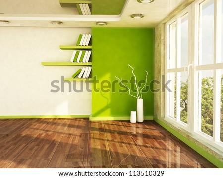 Interior Design Window interior design scene with a big window, the vases, the shelves