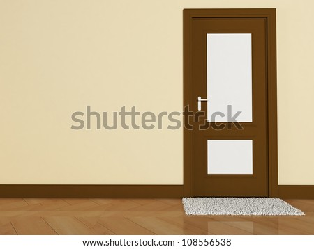 Interior design scene with a door and a carpet