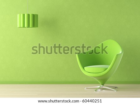 Interior design scene with a modern green couch and lamp on green wall