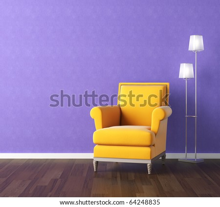 Interior design scene with a modern yellow couch and lamp on violet wall, copy space on the wall