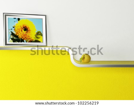 Interior design scene with a shelf and a picture - stock photo
