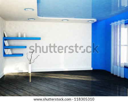 interior design scene with a window, the vase, the shelves