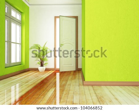 Interior design scene with an open door and a plant