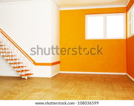 Interior design scene with the  stairs in the room