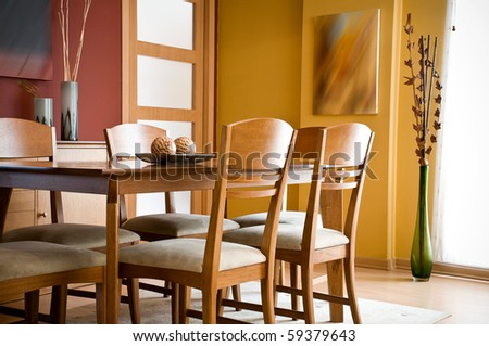 interior design series modern colorful dining room stock photo - Colorful Modern Dining Room