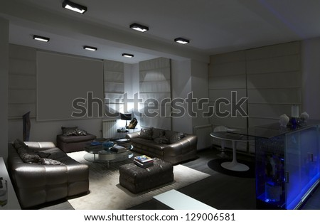 Interior design series: Modern living room - stock photo