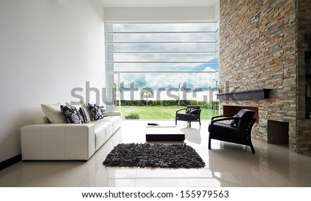 Interior design series: Modern living room with big empty white wall #155979563