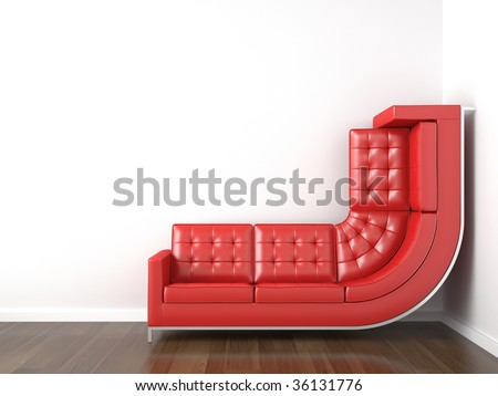 interior design with a bended red couch in a corner white room climbing up the wall with plenty copy space.