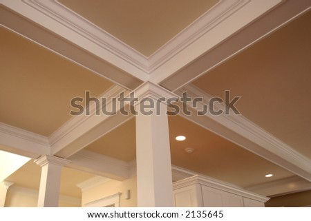 interior detail of crown molding on beams
