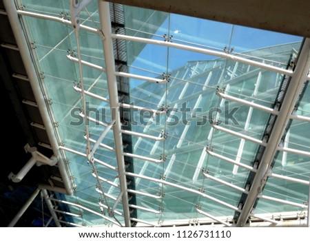 interior details - looking upwards through the glass ceiling - design feature, conceptual idea