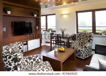 Interior Details Of Stylish Modern Living Room. Stock Photo ...
