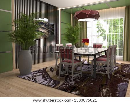 Interior dining area. 3d illustration #1383095021