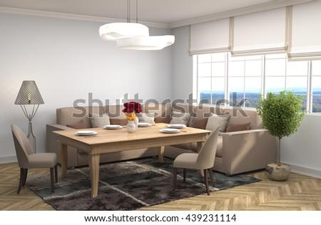 Interior dining area. 3d illustration #439231114