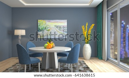 Interior dining area. 3d illustration #641638615