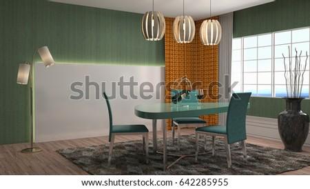 Interior dining area. 3d illustration #642285955