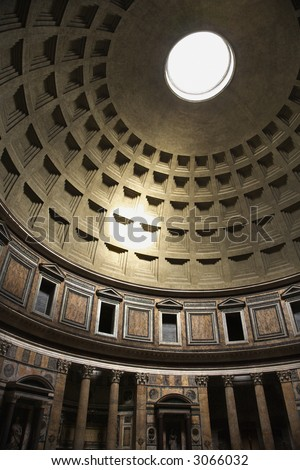 Interior dome in Pantheon, Rome, Italy.