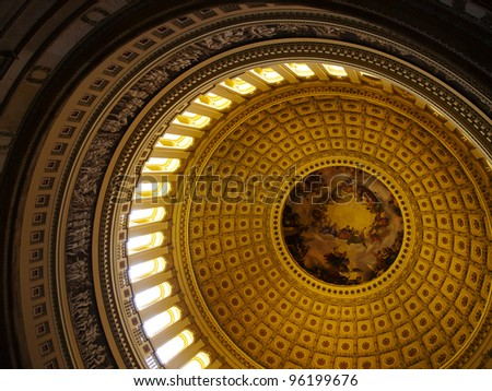Interior Dome of the USA Capitol Building in Washington DC