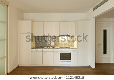 interior empty house with wooden floor, kitchen