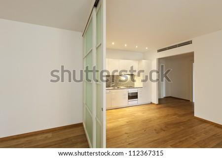 interior empty house with wooden floor, kitchen   EZ Canvas