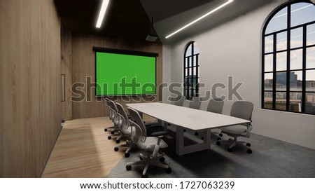 Interior Empty Modern Loft Office open space modern office footage.Modern open concept Lobby and reception area meeting room design.3d Rendering .green screen on the wall. stock photo