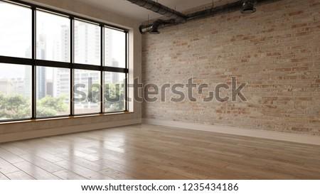 Interior empty room 3D rendering Foto stock ©